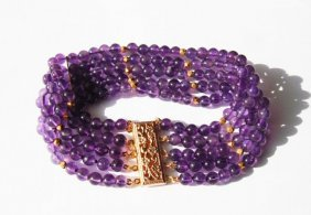 5 Layer Amethyst Bead Bracelet With Gold Filled Clasp