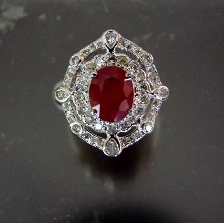 Ring Natural Ruby Diamond 5.94Ct 14k Two-Tone