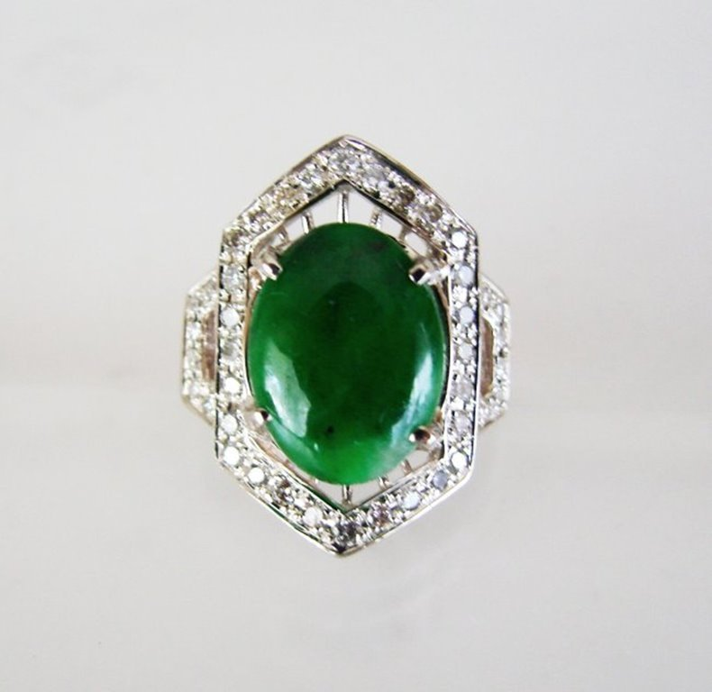 Diamond-Imperial Jadeite Jade Ring 3.38Ct14k W/G-Sz 6