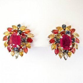 Natural Gems Multicolor Earring 13.00ct 18k W/g Overlay