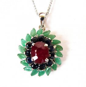 Natural Gems Multicolor Pendant 8.22ct 18k W/g Overlay