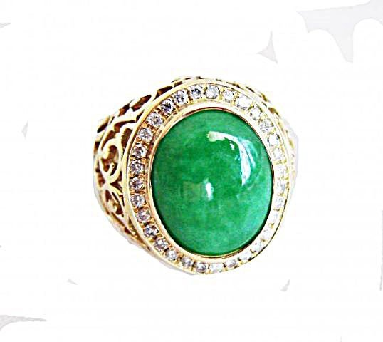 Man Ring Chinese Jade /Diamond 8.76Ct 18k Y/g Size 8