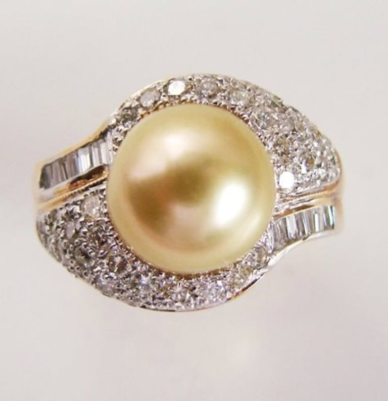 10mm Golden South Sea Pearl-Dia: Ring1.39Ct14kY/g