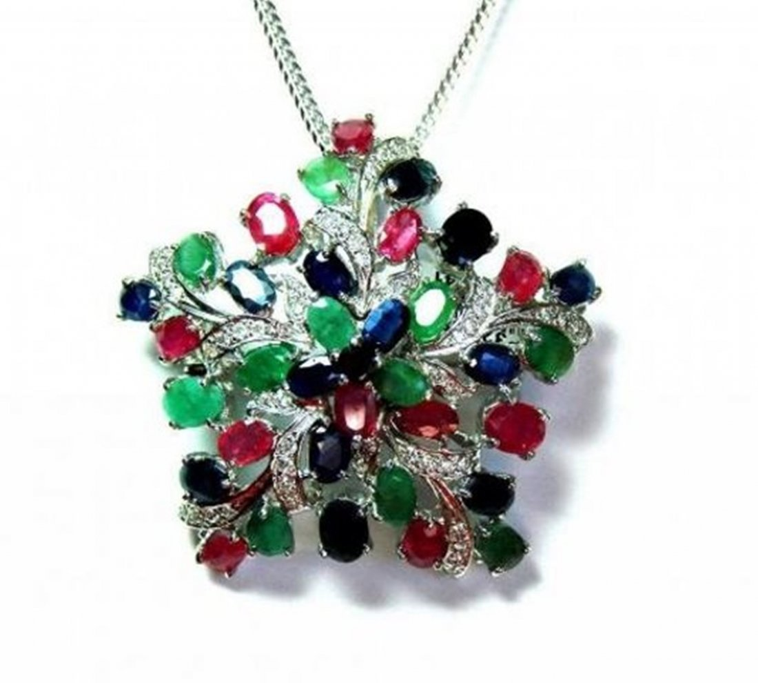 Natural Gems Multicolor Pendant 15.02 Carat 18k W/g