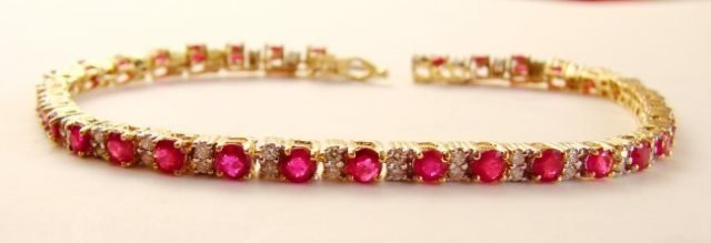 Tennis Ruby-Diamond Bracelet 8.76Ct 14k Y/g