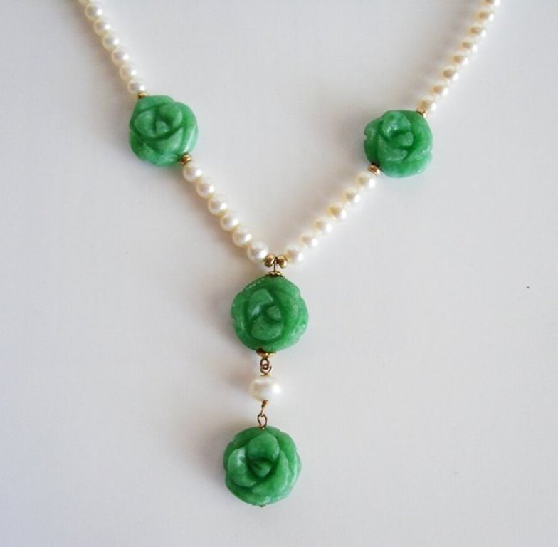 Natural Jadeite Jade Pear Necklace 18k Y/g Filled