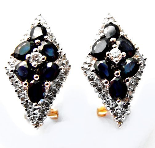 Diamond&Blue Sapphire Earrings 3.10Ct 14k Y/g