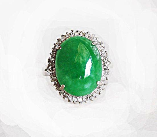 Anniversary Ring Chinese Jade Diamond 8.75Ct 14k W/g