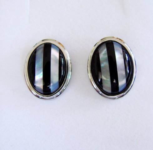 Men Cufflink Stainless Onyx Mother Pearl 12.78Ct
