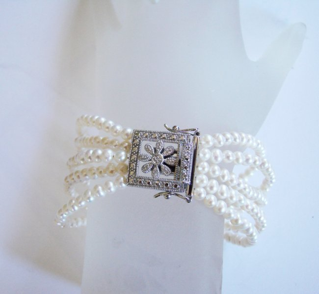 Bracelet Pearl Diamond Creation .29Ct 18k W/g Overlay - 2