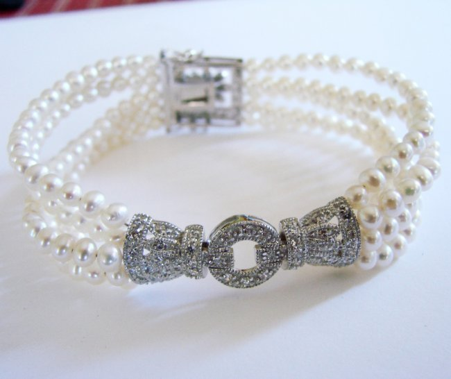 Bracelet Pearl Diamond Creation .29Ct 18k W/g Overlay - 3