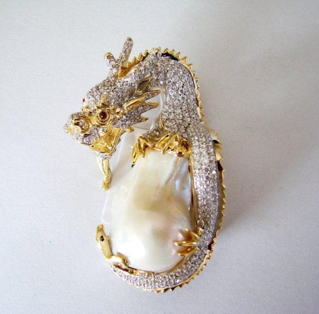 South Sea Pearl Baroque Creation Diamond 6.70Ct 18k Y/g - 2