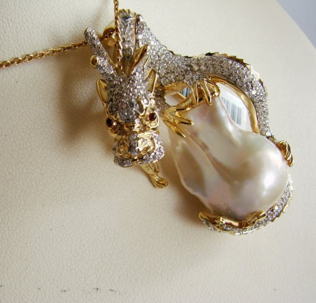 South Sea Pearl Baroque Creation Diamond 6.70Ct 18k Y/g - 4