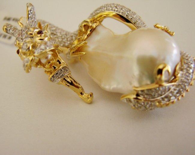 South Sea Pearl Baroque Creation Diamond 6.70Ct 18k Y/g - 5