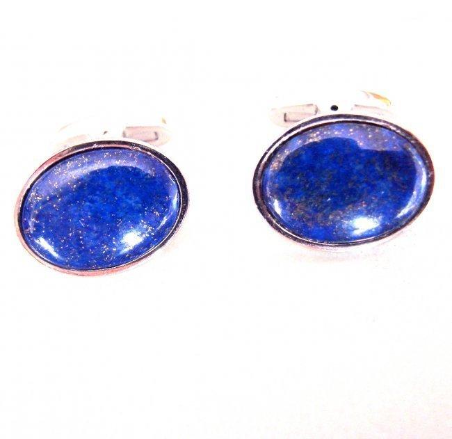 Men Cufflink Stainless Steel Lapis Lazuli
