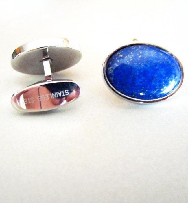 Men Cufflink Stainless Steel Lapis Lazuli - 2
