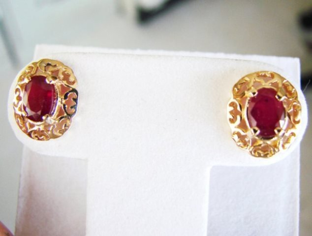 Natural Ruby Earrings 2.47Ct14k Y/G - 3