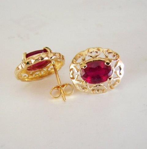 Natural Ruby Earrings 2.47Ct14k Y/G - 4