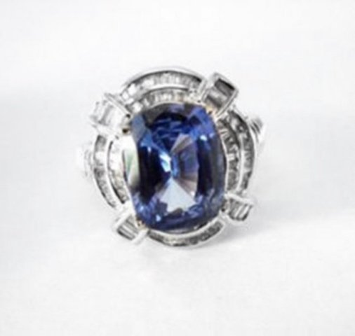 Natural Blue Sapphire Diamond Ring 9.63Ct 18k W/gSML W - 2