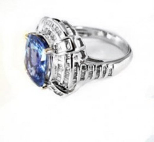Natural Blue Sapphire Diamond Ring 9.63Ct 18k W/gSML W - 3
