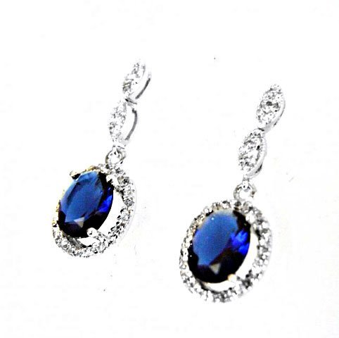 Creation Diamond/Blue Sapphire Earrings 3.00 Ct - 2