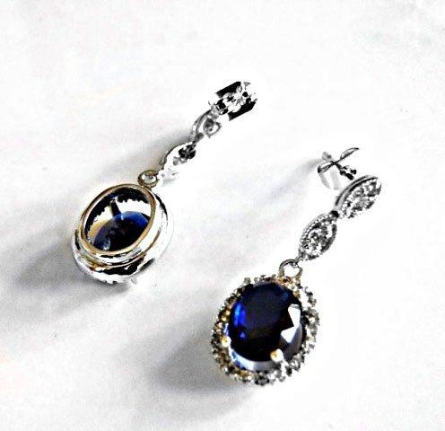 Creation Diamond/Blue Sapphire Earrings 3.00 Ct - 3