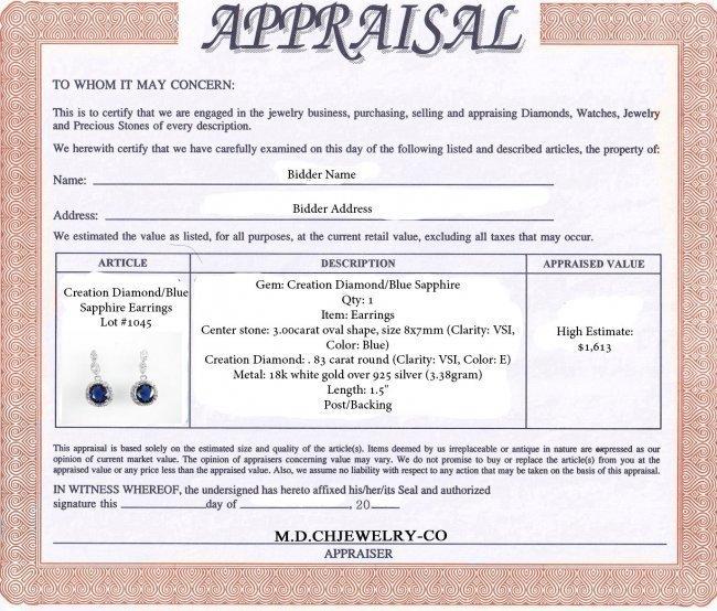 Creation Diamond/Blue Sapphire Earrings 3.00 Ct - 4