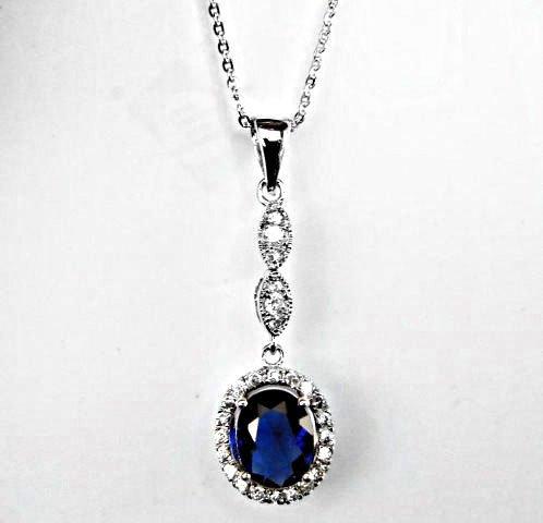 Creation Diamond/Blue Sapphire Necklace 1.93CT - 2