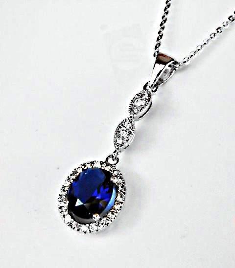 Creation Diamond/Blue Sapphire Necklace 1.93CT - 3