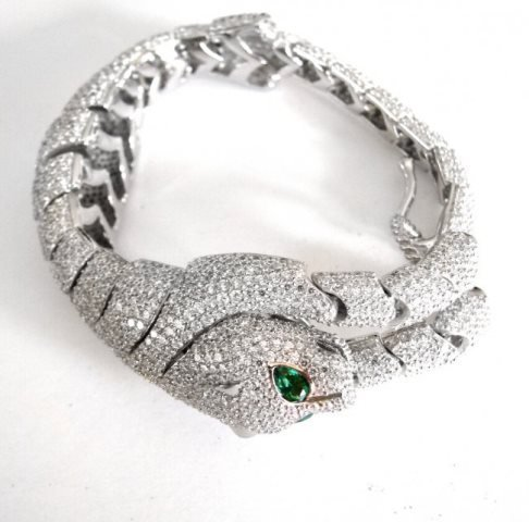 Creation Diamond Juguar Bracelet 23.05Ct 18kW/g Overaly - 6