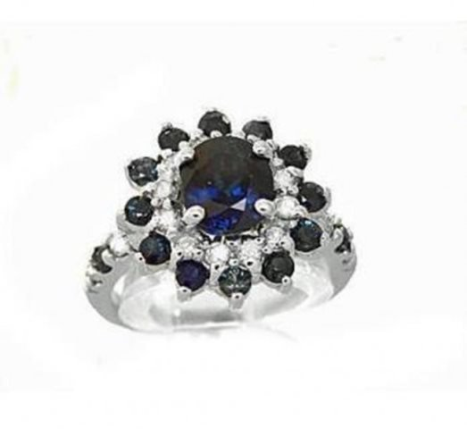 Blue Sapphire:4.39CT,  Diamond: .62CT Ring 14k W/G