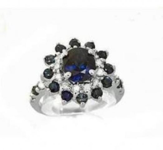 Blue Sapphire:4.39CT,  Diamond: .62CT Ring 14k W/G - 2