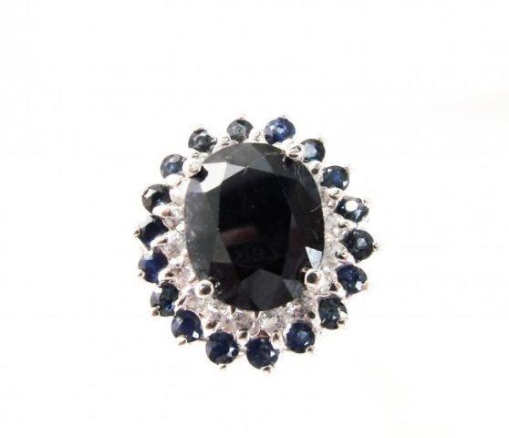 Blue Sapphire Diamond Ring 8.97Ct 14k White Gold - 2