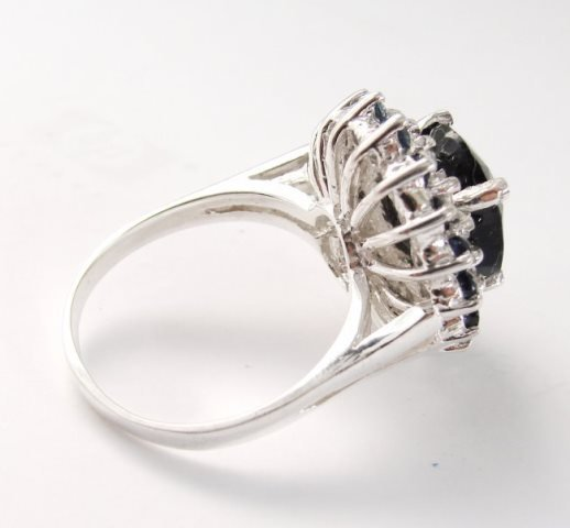 Blue Sapphire Diamond Ring 8.97Ct 14k White Gold - 4