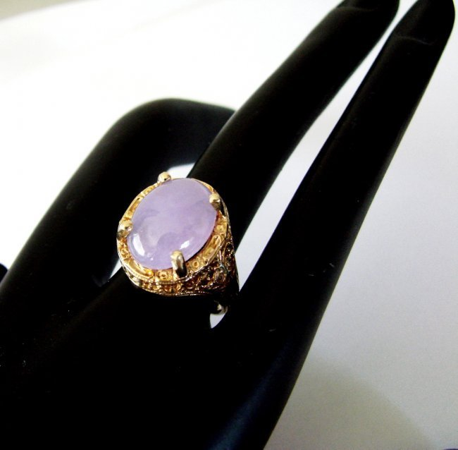 Antique Ring Lavender Jade 6.80 Carat 14k Yellow Gold - 2