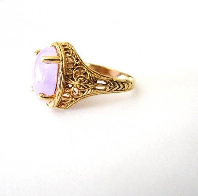 Antique Ring Lavender Jade 6.80 Carat 14k Yellow Gold - 3