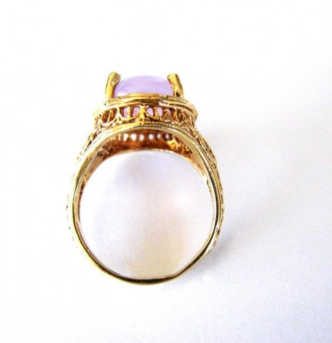 Antique Ring Lavender Jade 6.80 Carat 14k Yellow Gold - 4