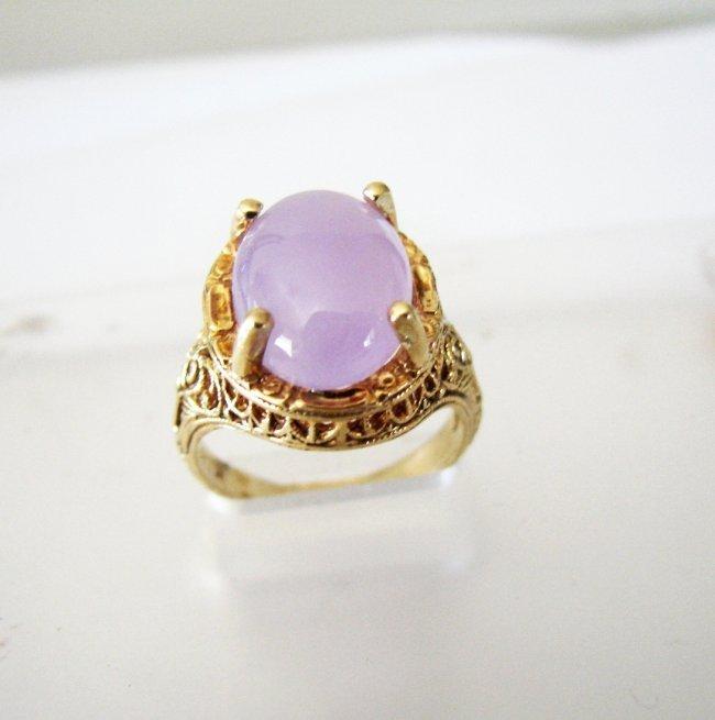 Antique Ring Lavender Jade 6.80 Carat 14k Yellow Gold - 5
