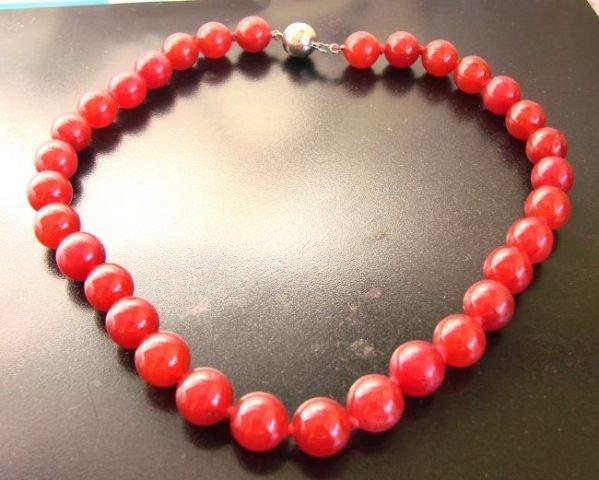 "Elegant Red Jade Bead Necklace 16""inch"