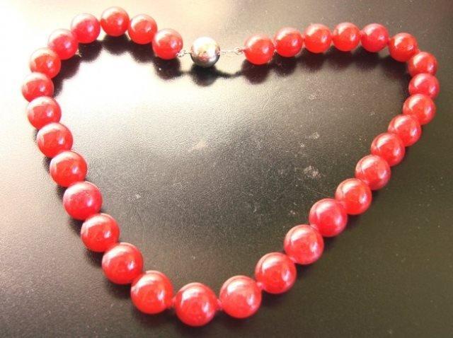 "Elegant Red Jade Bead Necklace 16""inch - 2"