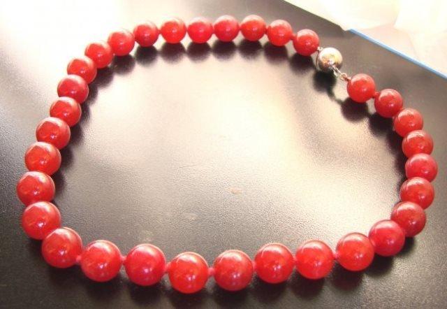 "Elegant Red Jade Bead Necklace 16""inch - 3"