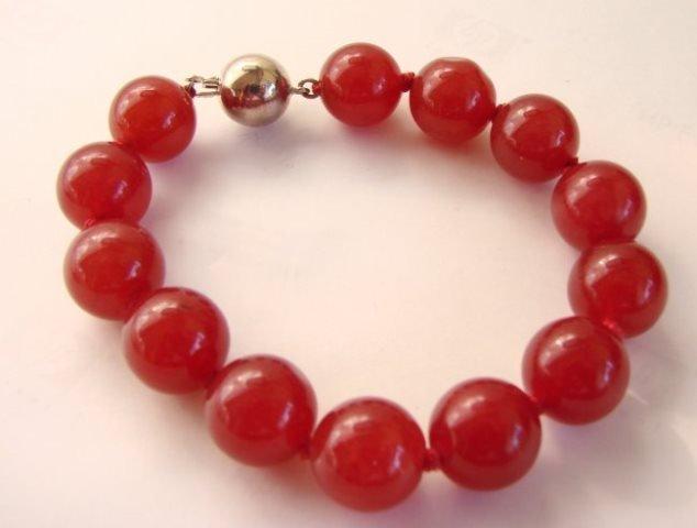 "Elegant Red Jade Bead  Bracelet 7"" inch"