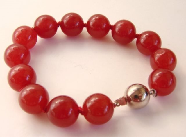 "Elegant Red Jade Bead  Bracelet 7"" inch - 2"