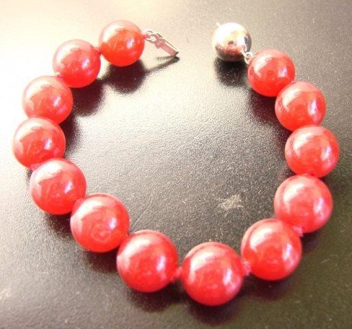 "Elegant Red Jade Bead  Bracelet 7"" inch - 3"