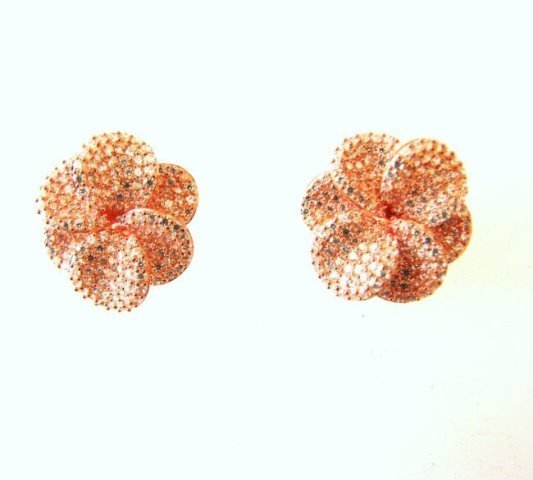 Ceartion Diamond Earrings 5.63Ct 18k R/g Overlay - 2