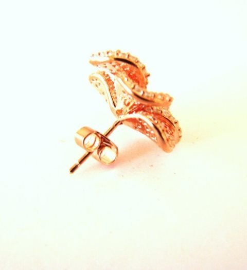 Ceartion Diamond Earrings 5.63Ct 18k R/g Overlay - 3