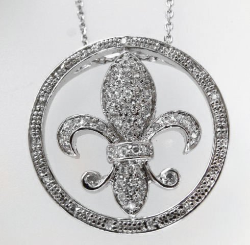 Fleur De Li Pendant Diamond Creation.55Ct 18kW/g