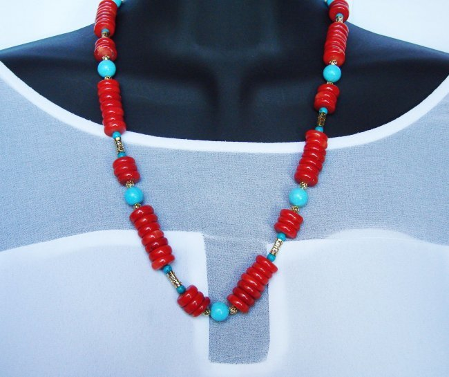Natural Red Coral/Turquoise Necklace Gold Filled Clasp - 2