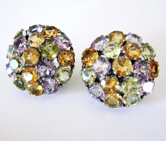 Multicolor Stone Earrings 46.90Ct 18k B/g Overlay