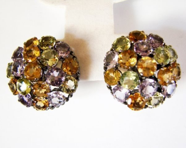 Multicolor Stone Earrings 46.90Ct 18k B/g Overlay - 2